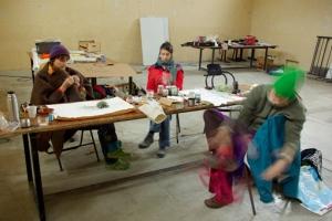Les artistes, Stéphanie Cailleau, Johanna Autin, Lynn Pook au travail