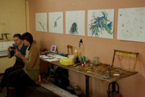 Rendu public de fin de résidence : vue de l'atelier de J. Autin et son travail sur les lichens