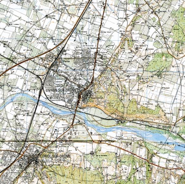 Aire de butiange de Livron. Le petit cercle est un rayon de 1 km autour des ruches, le grand cercle est la distance maximum de butinage des abeilles.